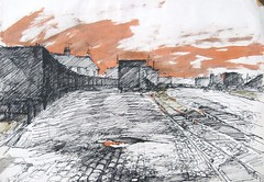 Station Yard Barnoldswick: Art School Sketchbook (skyeshell) Tags: sunset drawing tracks railway lancashire cobblestones barnoldswick earlyevening indianink textural terracedhouses freedrawing railwayyard sketchbookdrawing drawingoutdoors dippenandink coalwaggons drawingwithcolour