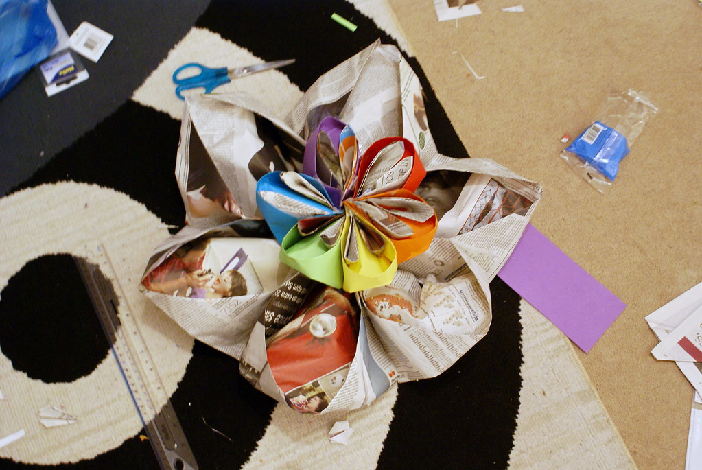 Giant paper flower: decoration for my Brighton Mini Makers Faire stall