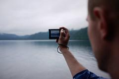 Taking photos of Lake Shikotsu, Hokkaido, Japan