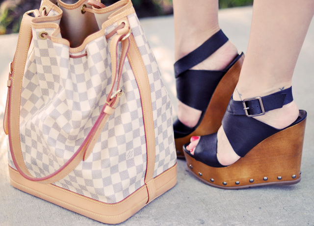 steve madden wooden  platform wedges and louis vuitton azur noe bag