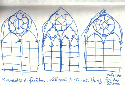 Notre-Dame de Paris windows sketches