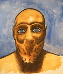 Another Sumerian Portrait (JeremiahGC) Tags: sumer earlyman sumerian watercolorportrait ancientmesopotamia