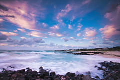 Summer blues...and pinks...and purples (DMac 5D Mark II) Tags: ocean camera travel sunset sea summer vacation favorite holiday tourism beach nature canon lens photography eos interestingness google interesting rocks asia natural photos mark south sightseeing korea fave ii getty 5d jeju myfriend reviews naver googleimages daum imagesgooglecom fredmiranda canoneos5dmarkii 5dmark2 wwwfredmirandacom gettyimagesartist douglasmacdonald instagram jejuweekly