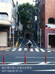 朝散歩(2011/8/30 7:10-7:25): 駒沢通り越しに恵比寿神社