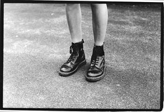Mag's Docs (RE) Tags: blackandwhite slr london film fashion youth analog nikon shoes punk legs style southbank british docs docmartins nikonfm ilfordfilm keylineframe