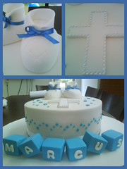Baby Boy Christening Cake (Cakes by Ana) Tags: birthday blue baby cakes stars cupcakes cross boots diamond canberra blocks fondant