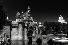 Disney Sleeping Beauty Castle B&W (cstout21) Tags: california ca travel chris trees vacation blackandwhite usa reflection water happy us unitedstates disneyland disney mickeymouse matterhorn anaheim walt westcoast hdr highdynamicrange sleepingbeauty stout waltdisney sleepingbeautycastle disneylandresort ngoc blackwhitephotos canon60d stoutandstout northamera