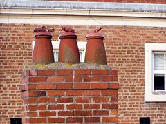Chester chimney pots Dec 2008 ii (DizDiz) Tags: uk england cheshire chester redbrick olympusc720uz countytown citywallswalk