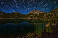 Lassoed -- Lake Helen, Lassen Volcanic National Park, CA (Jeff Swanson -- www.interfacingnature.com) Tags: longexposure reflections stars volcano nationalpark nighttime startrails lassenpeak lakehelen sigma1020mmf456exdchsm nikond7000 maximummodestack