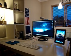Mac Setup For University (Ryan J. Nicholson) Tags: desktop camera ikea notebook macintosh 22 mac display laptop samsung screen os x monitor pro isight clamshell ipad macbook 226bw ipads