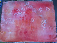 sun dyed fabric with leaves