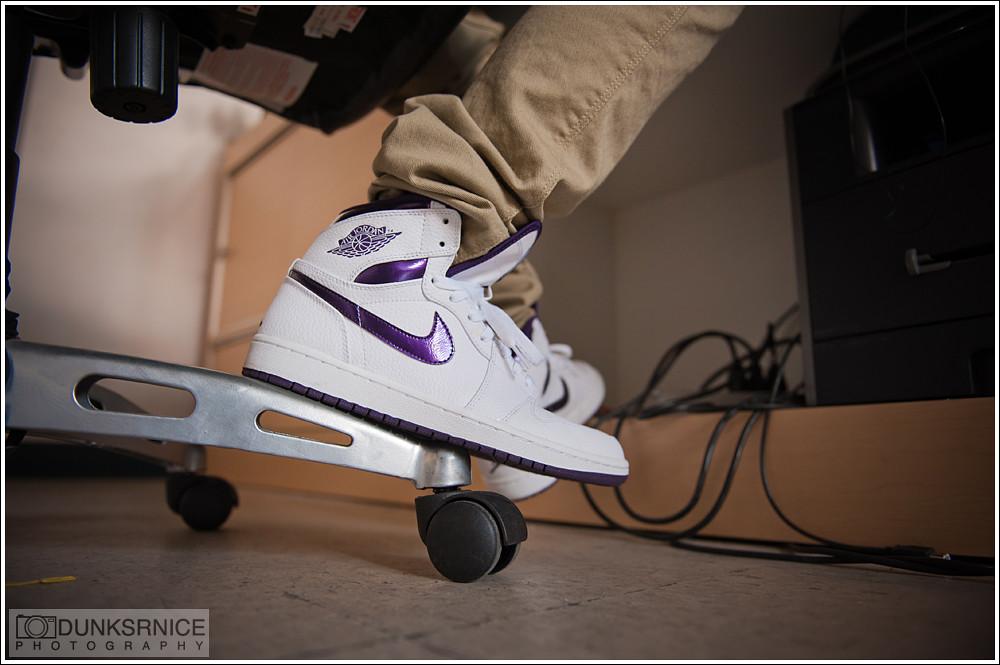 Metallic Purple & White I's.