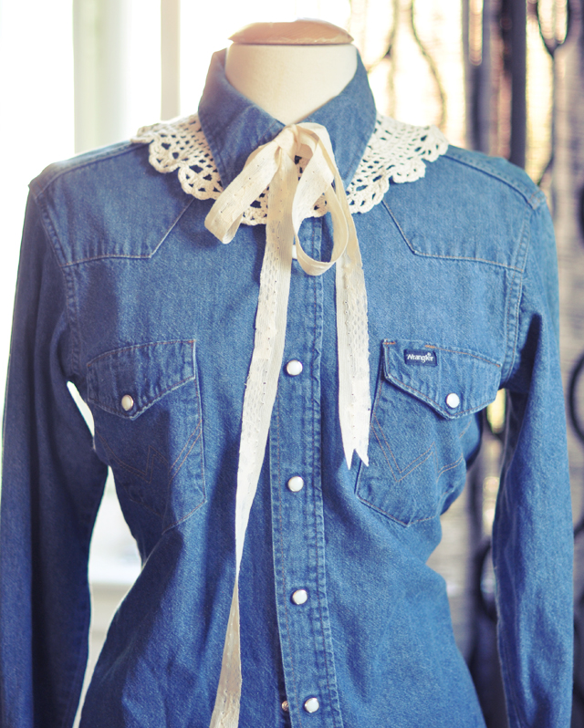 DIY doily collar with bow   tie on  denim shirt