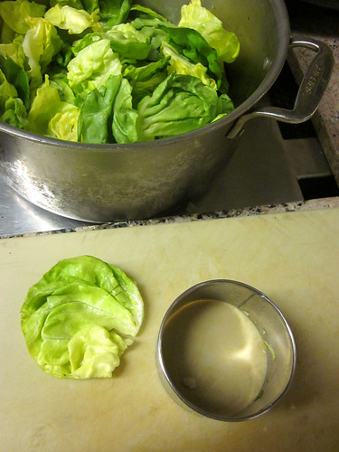 cutting lettuce cups