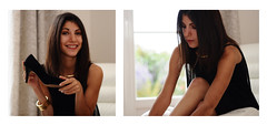 Lizette on shoes (Geoff  RT Ficiel ) Tags: portrait people france photoshop collier 50mm soleil nikon noir elise bokeh expression robe lumire bijoux fille sourire blanc brune soeur jambes bras lizette cheveux chaussure 2011 d90 bordure