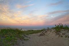 Moonrise at Seabrook (cybersooz) Tags: ocean sunset sea summer moon beach dunes newengland newhampshire moonrise atlanticocean seabrook 2011 seabrookbeach
