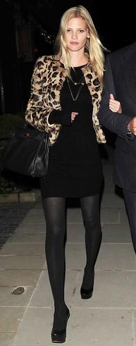 LaraStone wears leopard print jacket over little black dress