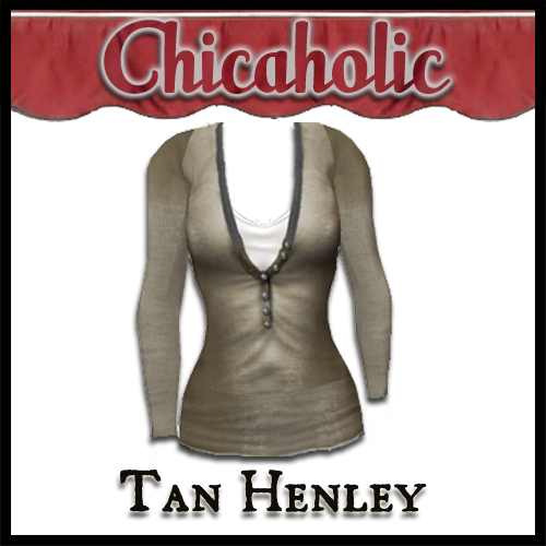 Chicaholic Tan Long Sleeve Henley by Shabby Chics