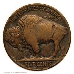1913 Buffalo Nickel in copper reverse