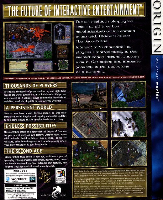 Ultima Online: The Second Age - Back of the Box