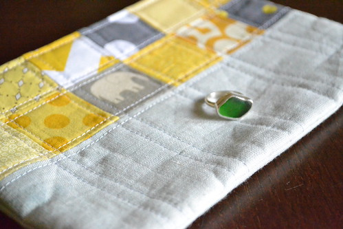 project pouch and beach glass ring