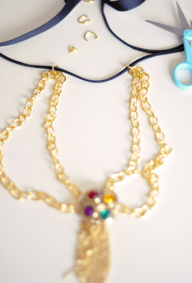 Gilded Gemstone and chain tassel necklace DIY-8