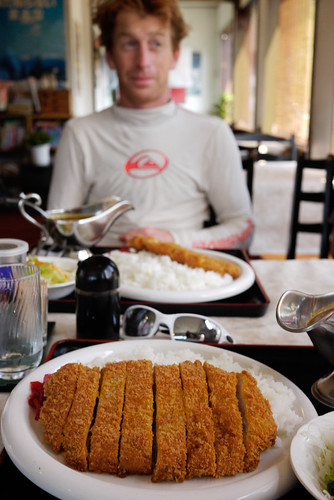 Massive pork cutlet curry on the Shakotan Peninsula, Hokkaido, Japan