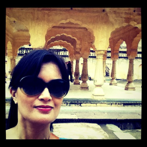 At the concubines & Queens' court in Amber Fort, Jaipur, India