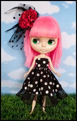 Blythe Pullip Outfit - Polka Dot Black Tube Dress