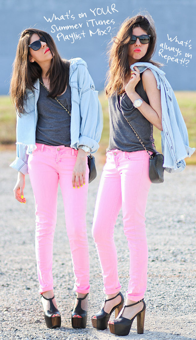 Neon Pink Skinny Jeans, Jessica Simpson Dany, Vintage Chanel bag, One Teaspoon Mickey, Nars Schiap Pink Lipstick, Society of Les Tank, Neon Yellow Nail Polish, iTunes Music Playlist