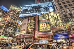 Billboards at night in Times Square HDR (Dave DiCello) Tags: newyorkcity newyork photoshop nikon manhattan tripod timessquare nikkor hdr highdynamicrange cs4 theatredistrict photomatix tonemapped timessquarenyc colorefex cs5 d700 davedicello hdrexposed