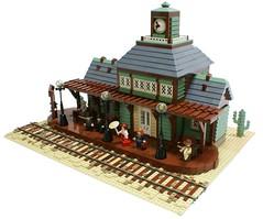 Great West Railway Station (Matija Grguric) Tags: train lego railwaystation creation western wildwest oldwest moc matijagrguric
