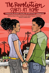 The cover of The Revolution Starts At Home featuring an illustration by Christy Road of two people of color, one with short, boyish hair and one with long flowing hair, hold hands and look into each other's eyes