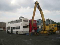 Awaiting their fate (MCW1987) Tags: bus london yard bradford transport breakers scrap trolleybus barnsley metrobus mcw arriva leaside 713 mk1 citytransport m1405 m1248 b248wul dky713