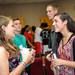 Incoming Textile freshman chat at the welcome back event.
