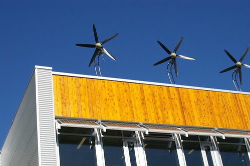 windmills & solar panels at Dockside Green (by: Rob Baxter, creative commons license)