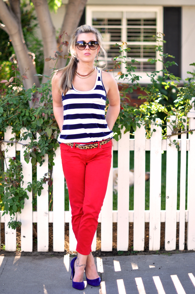 red pants + blue suede heels+ stripes and leopard
