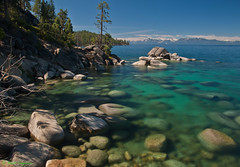 Tahoe Blues (MattyD90) Tags: morning trees sky mountains water clouds rocks nevada blues laketahoe boulders northshore shade sandharbor bonsairock