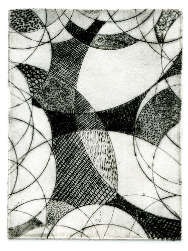 abstract with circles - drypoint