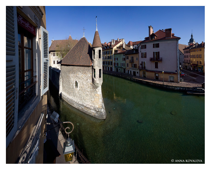 Annecy and Palais d'Isle in the morning