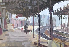 Burnley Railway Station: Art School Sketchbook gouache (skyeshell) Tags: lancashire railwaystation ironwork gouache distance burnley stationplatform brushwork paintingoutdoors paintingonthespot a3doublepagesketchbook