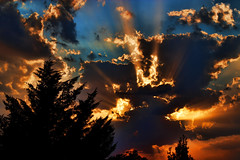 Sunset sky (Theophilos) Tags: trees light sunset sky nature clouds greece rays drama