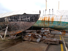 Boat Repair (anikarenina) Tags: france boats brittany bretagne repair brest drydock carpentry finistere radedebrest brestharbor