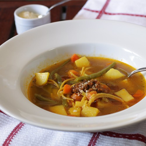 vegetable soup with parmesan