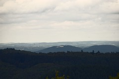 Petersberg (near Bonn), seen from the Eifel Mountains (realityfanclub) Tags: mountain clouds germany landscape outside photo long day view eifel clear tele glider distance landschaft forests petersberg siebengebirge segelflugzeug fernsicht muffelberg blaubeerberg fronrath
