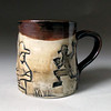 baseball mug (zmedceramics) Tags: cup baseball mug linocut etsy porcelain stamped textured celadon tenmoku zachmedler zmedceramics ceramicprint