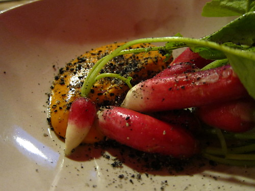 Radishes, black sesame and Korean mayo