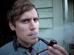 Jeff - Pipe - Portrait (Ryan Tansey) Tags: seattle music pipe smoking orcasisland tobacco 2011 doebay doebayfest doebayfest2011