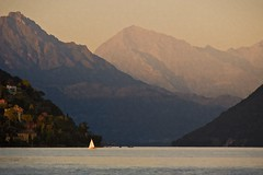 Passage (Lake Lugano, Switzerland) (jpaulus) Tags: lake mountains sailboat dusk sail d700