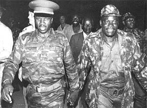 Comrades-in-arms: Zipra commander Lookout Masuku (left) and then Zanla deputy commander Rex Nhongo on their return to Zimbabwe in 1979 after organising and leading the liberation struggle from outside the country. by Pan-African News Wire File Photos